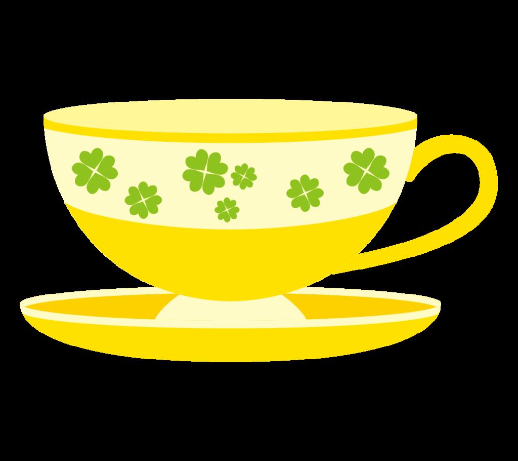 ティーカップ(イエロー)のイラスト