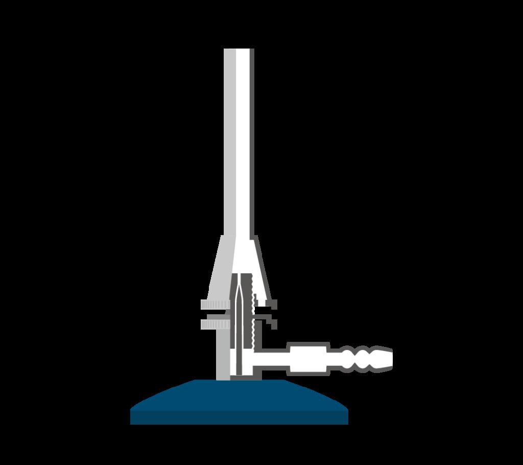 ガスバーナーの構造(断面)のイラスト