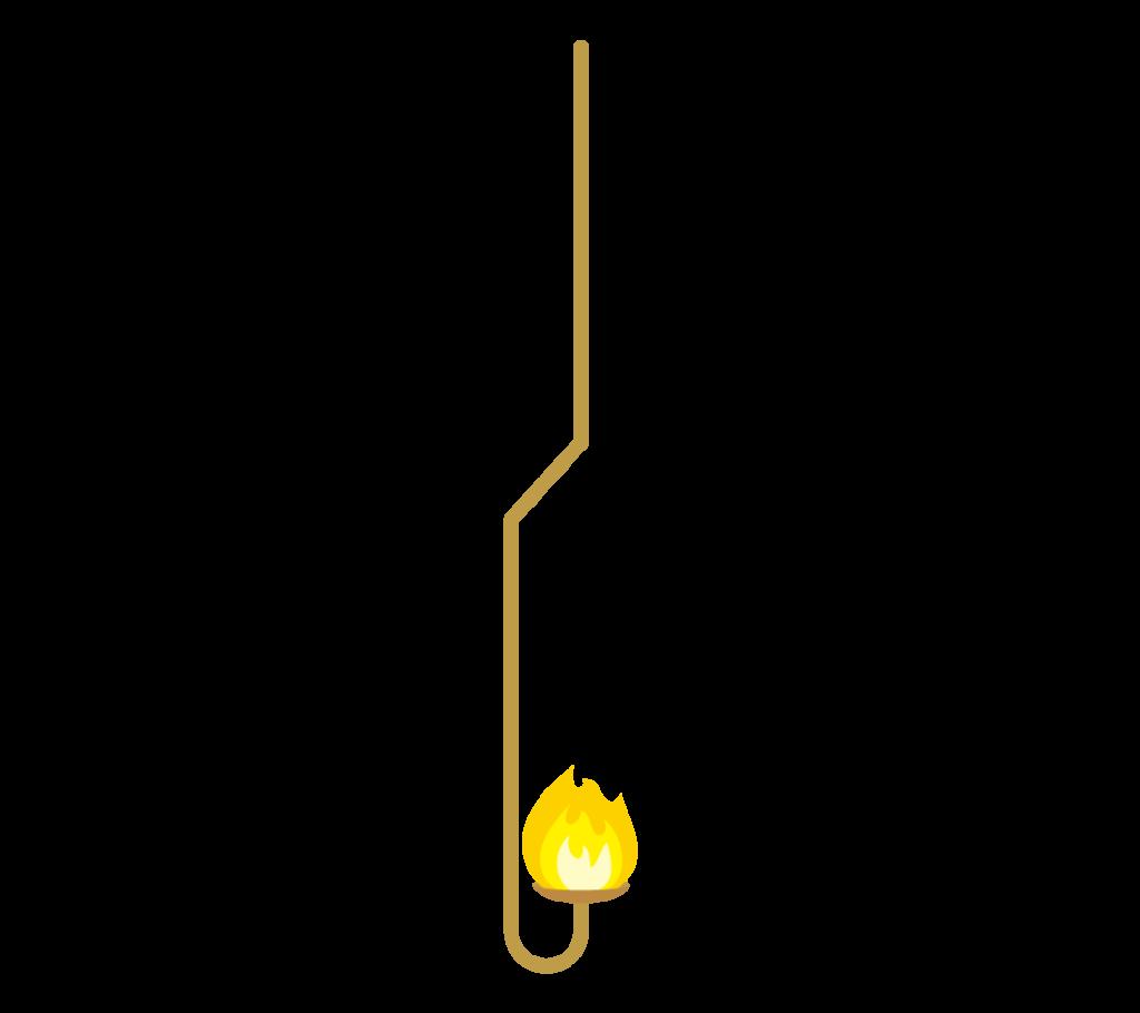 黄色い炎の燃焼さじのイラスト