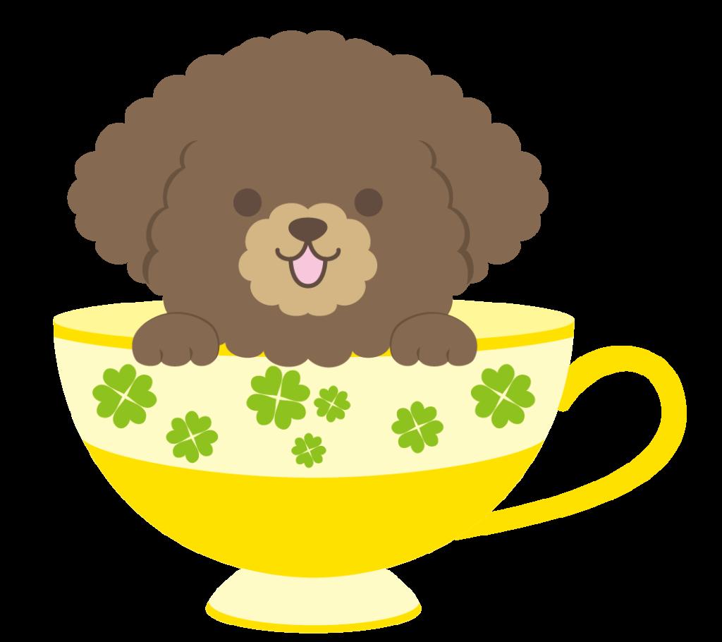 ティーカップに入ったブラウンのトイプードルのイラスト