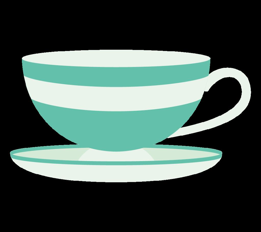 ティーカップ(グリーン)のイラスト
