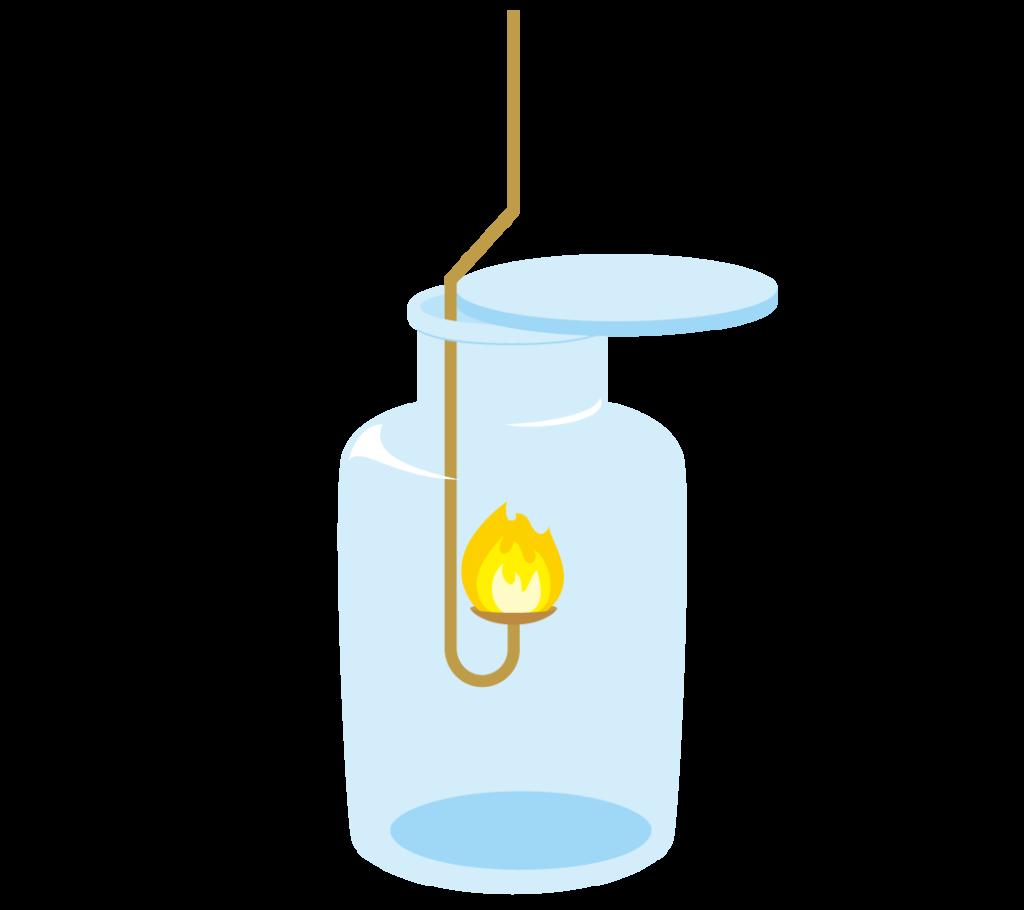 集気瓶に入った黄色い炎の燃焼さじのイラスト