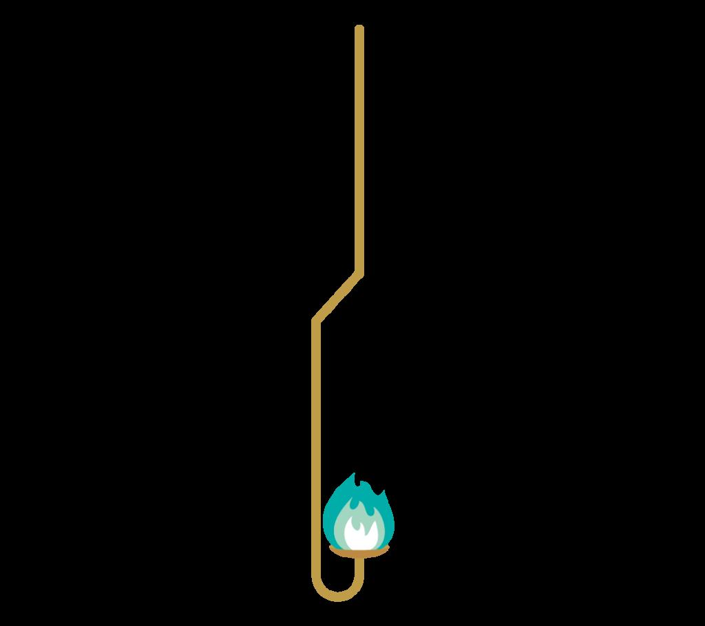 青緑色の炎の燃焼さじのイラスト
