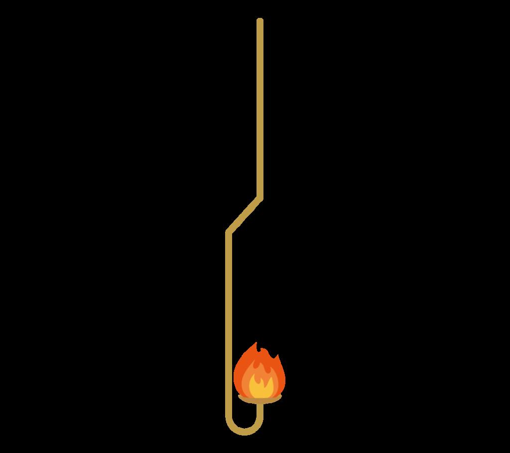 赤い炎の燃焼さじのイラスト