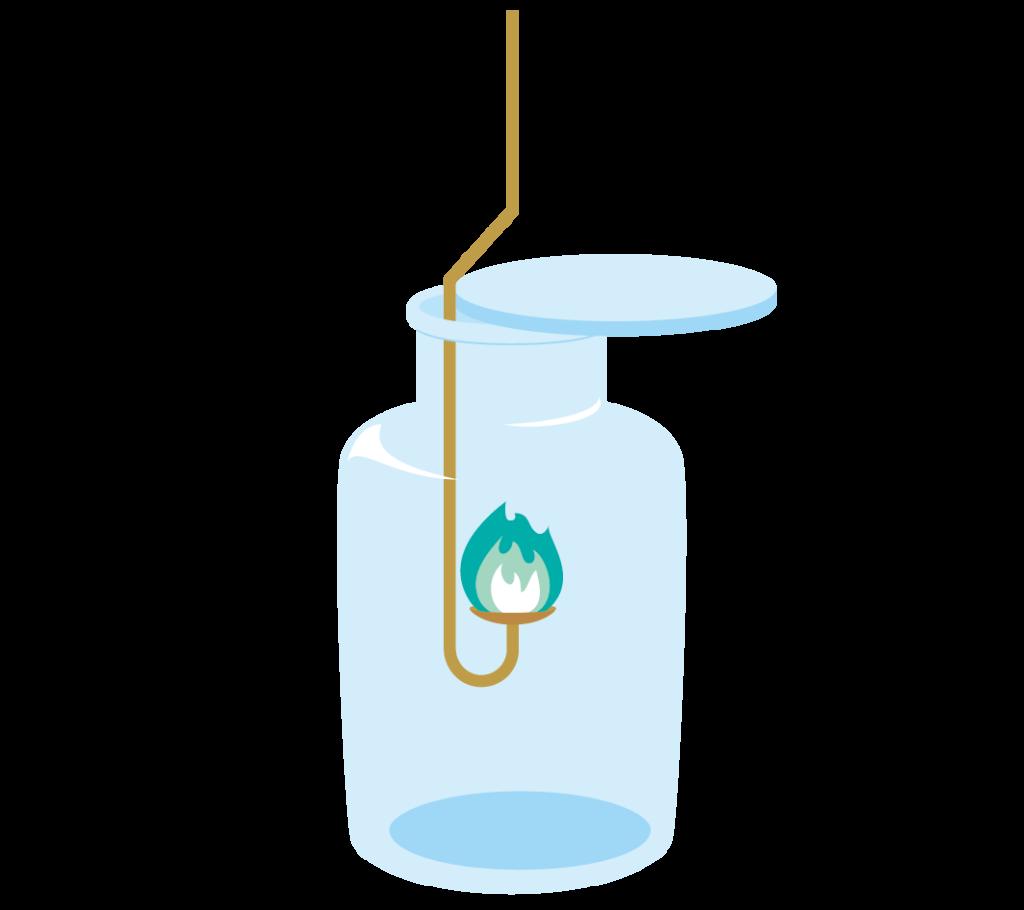 集気瓶に入った青緑色の炎の燃焼さじのイラスト