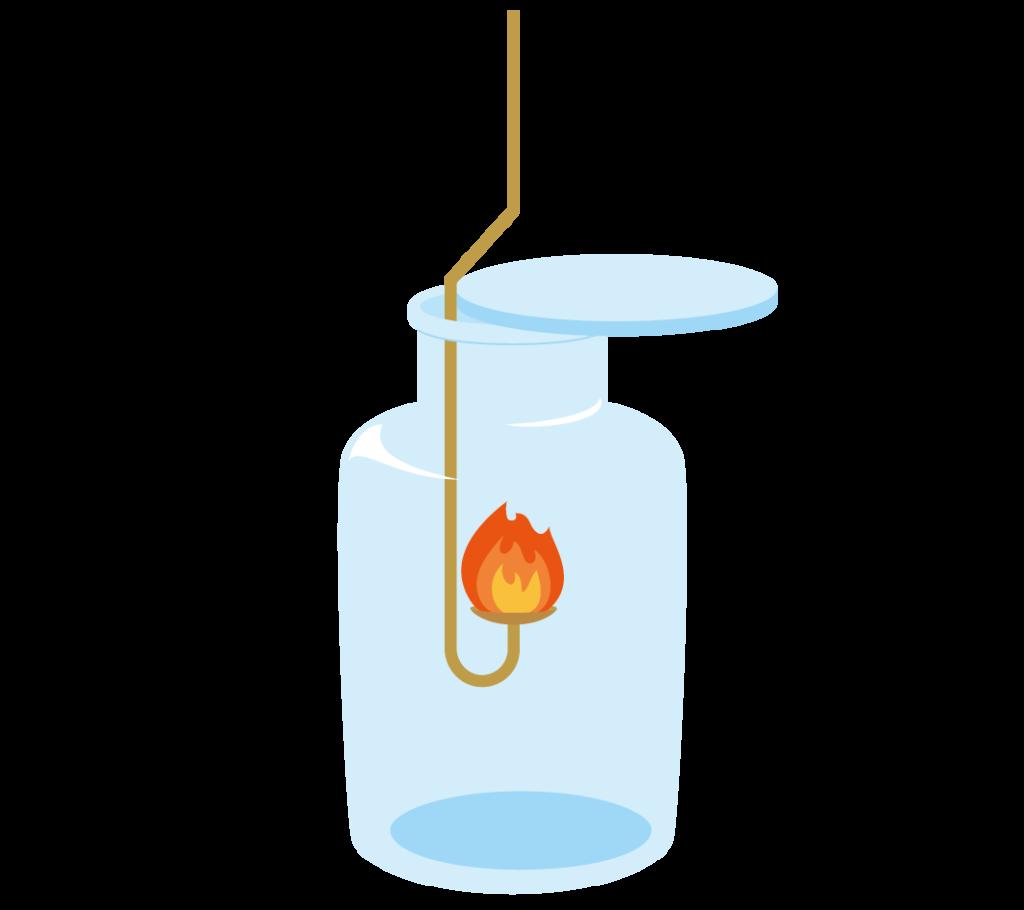 集気瓶に入った赤い炎の燃焼さじのイラスト