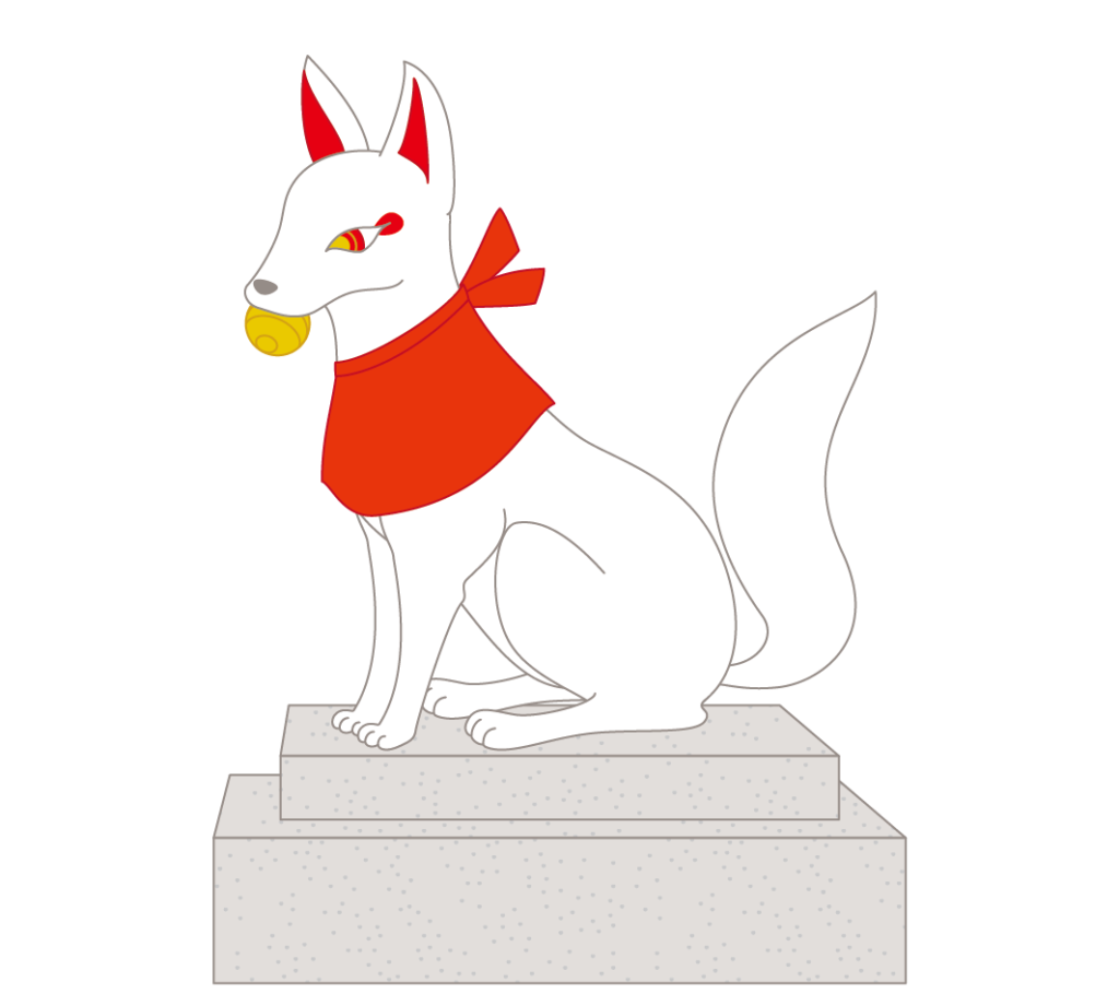 宝玉を咥えている狛狐のイラスト